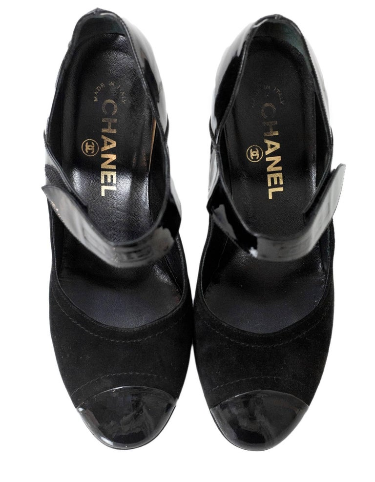 62279b0274d0 Chanel Black Suede   Patent Leather Cap-Toe Mary Jane Pumps Sz 36.5 In Good