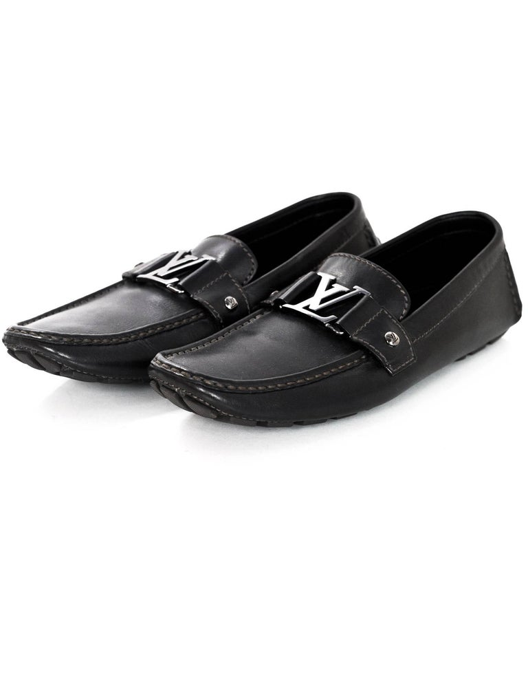791794dfe Women's or Men's Louis Vuitton Men's Black Leather Monte Carlo Loafers Size  7.5 For Sale