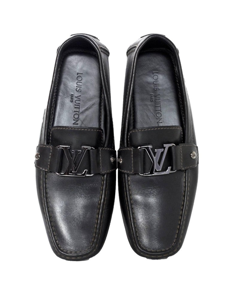 b85986a040e9 Louis Vuitton Men s Black Leather Monte Carlo Loafers Sz 7.5 Made In  Italy  Color