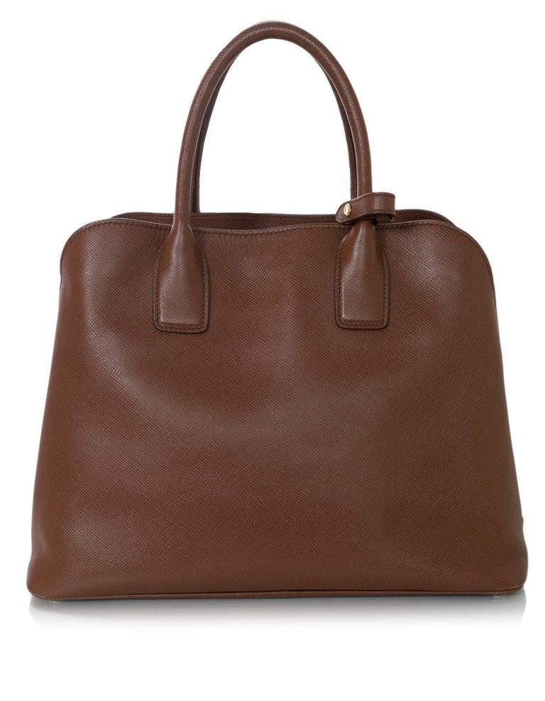 Prada Brown Saffiano Leather Palissandro Tote Bag W Strap For 1