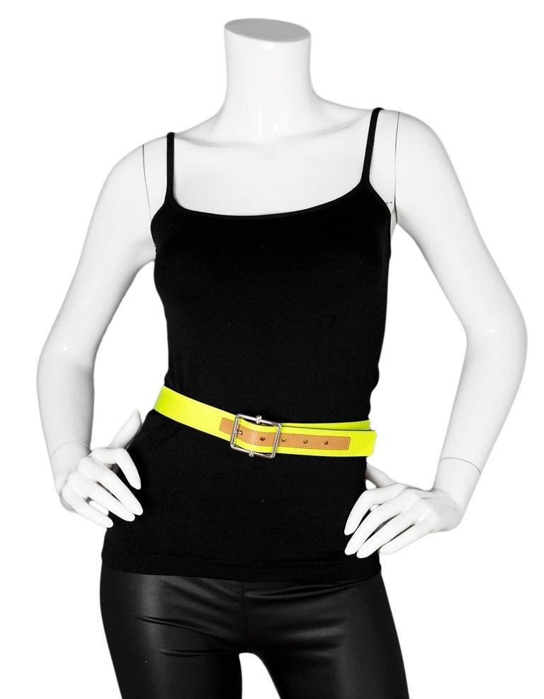 Louis Vuitton Neon Yellow Embossed Damier Infini Belt Sz ...