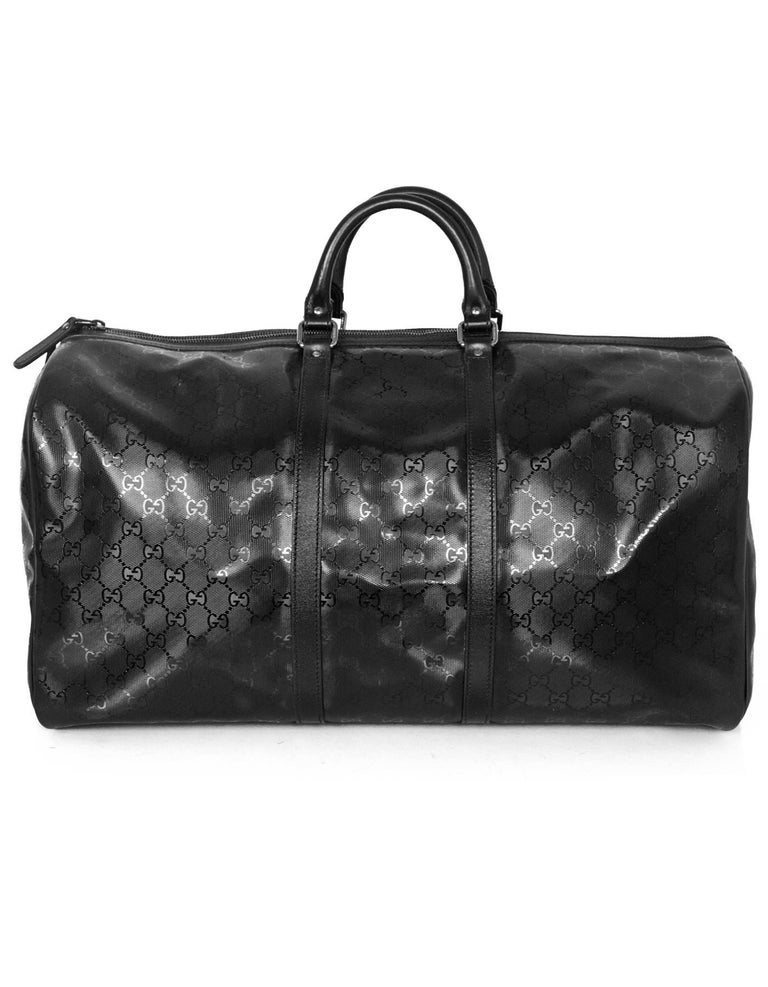 6cbe8027d Gucci Black Coated Imprime Monogram Large Duffle Bag w. Dust Bag In  Excellent Condition For