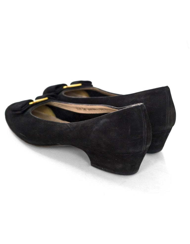 Women's Salvatore Ferragamo Black Varina Bow Shoes Size 37.5 For Sale