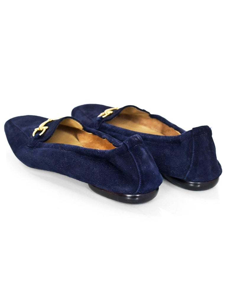 c37a520babf Gucci Navy Suede Horsebit Loafers Size 37C New In Excellent Condition For  Sale In New York