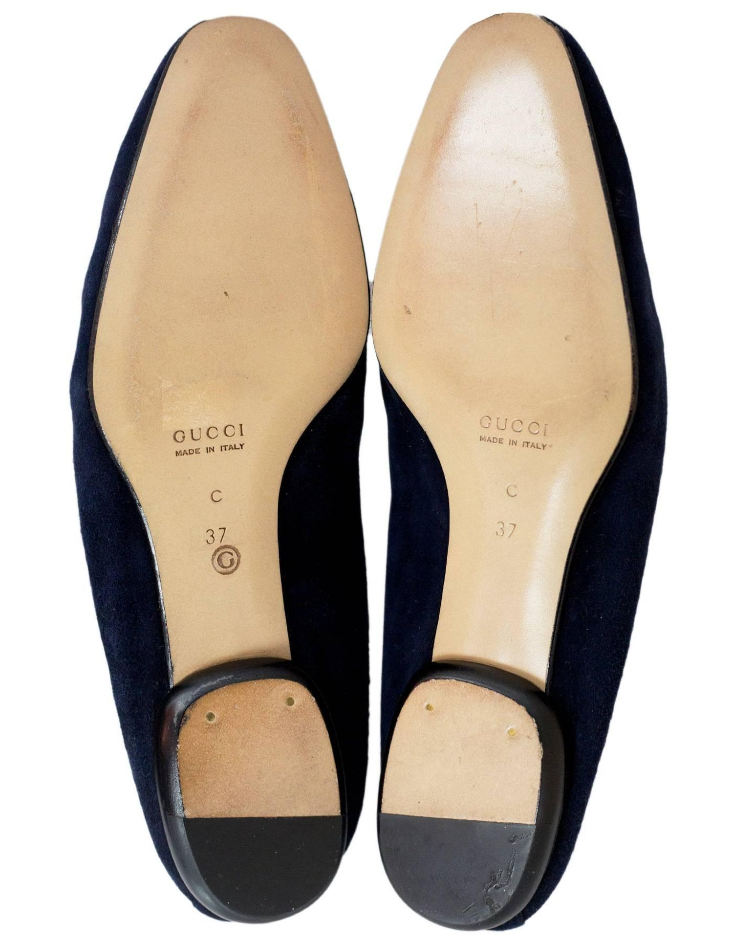 1748719f802 Gucci Navy Suede Horsebit Loafers Size 37C New For Sale at 1stdibs