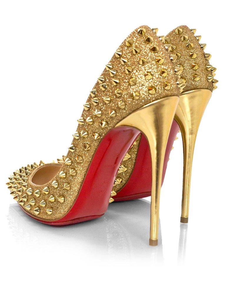 5cea47533371 Women s Christian Louboutin Gold Spiked Pigalle Follies 120 Pumps Sz 38  with DB For Sale