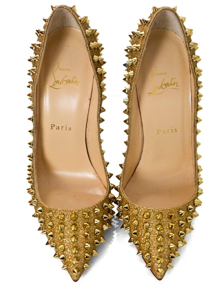 e211d292030 Christian Louboutin Gold Spiked Pigalle Follies 120 Pumps Sz 38 with DB