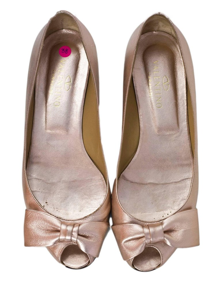 d5cb16ee2 Valentino Rose Gold Bow Peep-Toe Flats Sz 38 In Excellent Condition For  Sale In