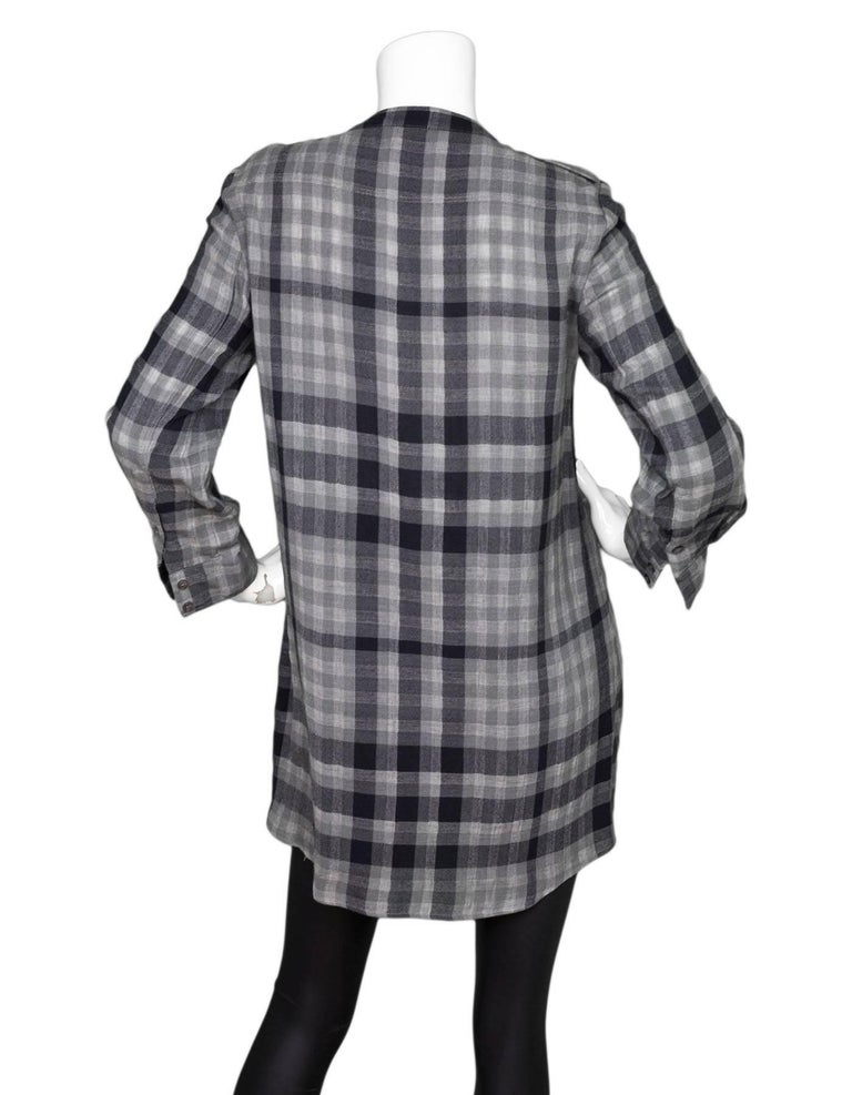 9fd23cd45ba Burberry Brit Black & Grey Plaid Tunic Sz M In Excellent Condition For Sale  In New