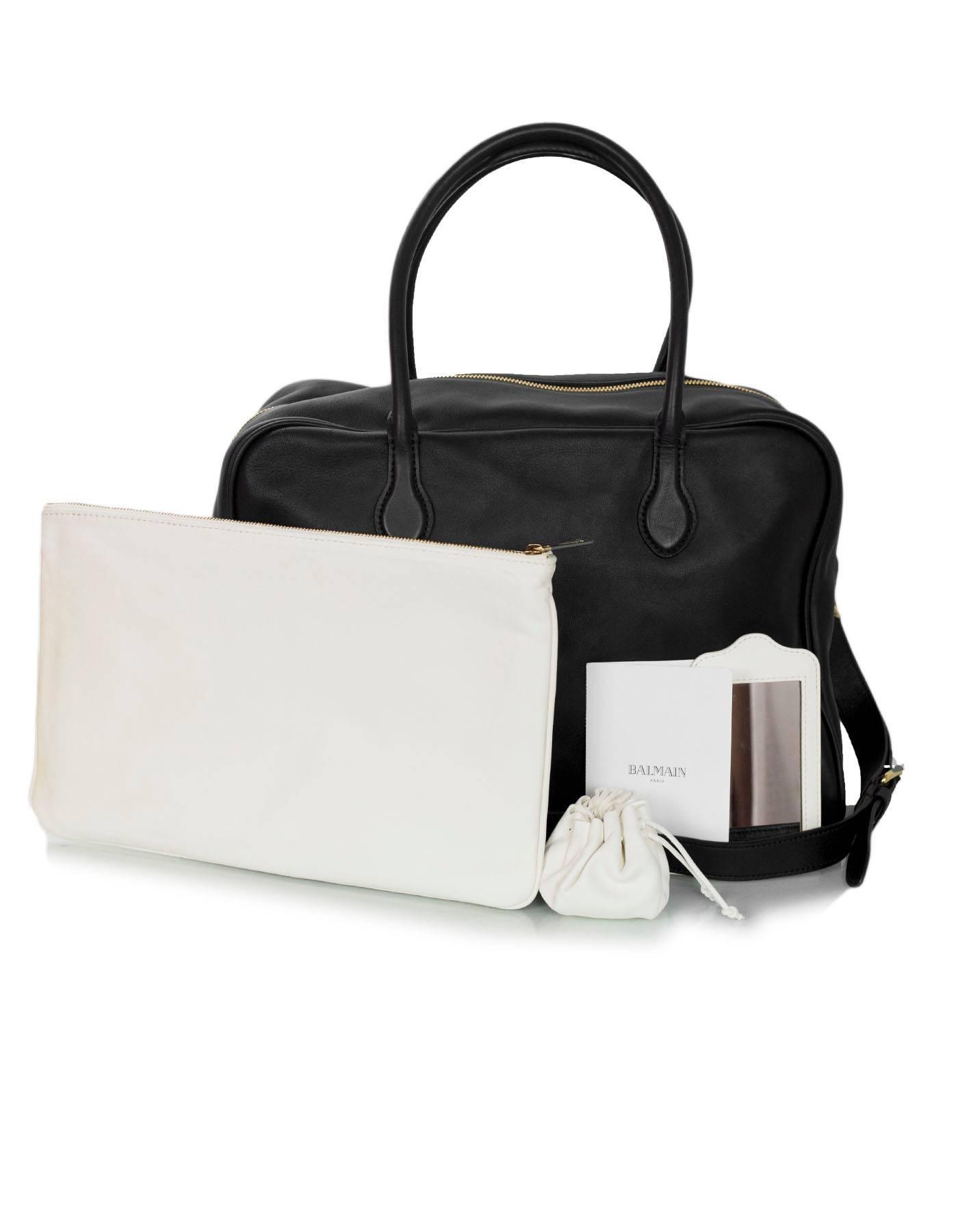 Balmain Black Leather Pierre Satchel Bag With Strap BshP0