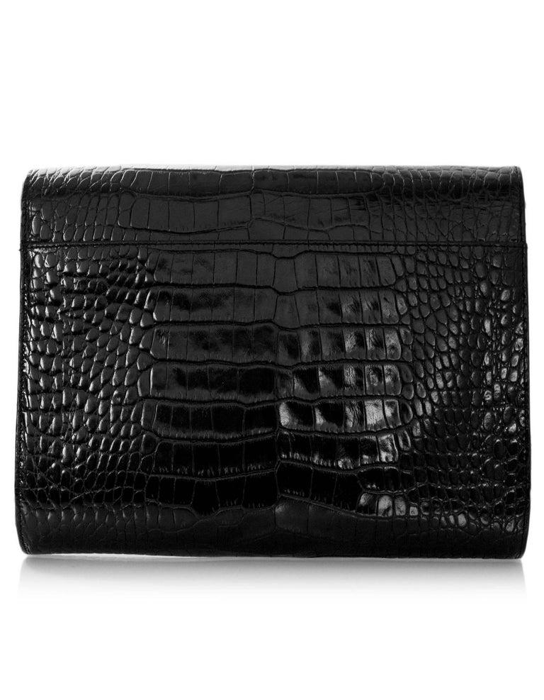Ralph Lauren Black Embossed Crocodile Crossbody Bag In Good Condition For  Sale In New York, d148381105