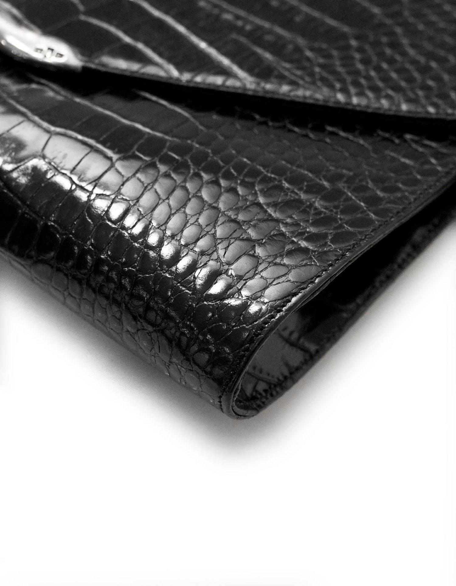 Ralph Lauren Black Embossed Crocodile Crossbody Bag at 1stdibs 8493988b1e017