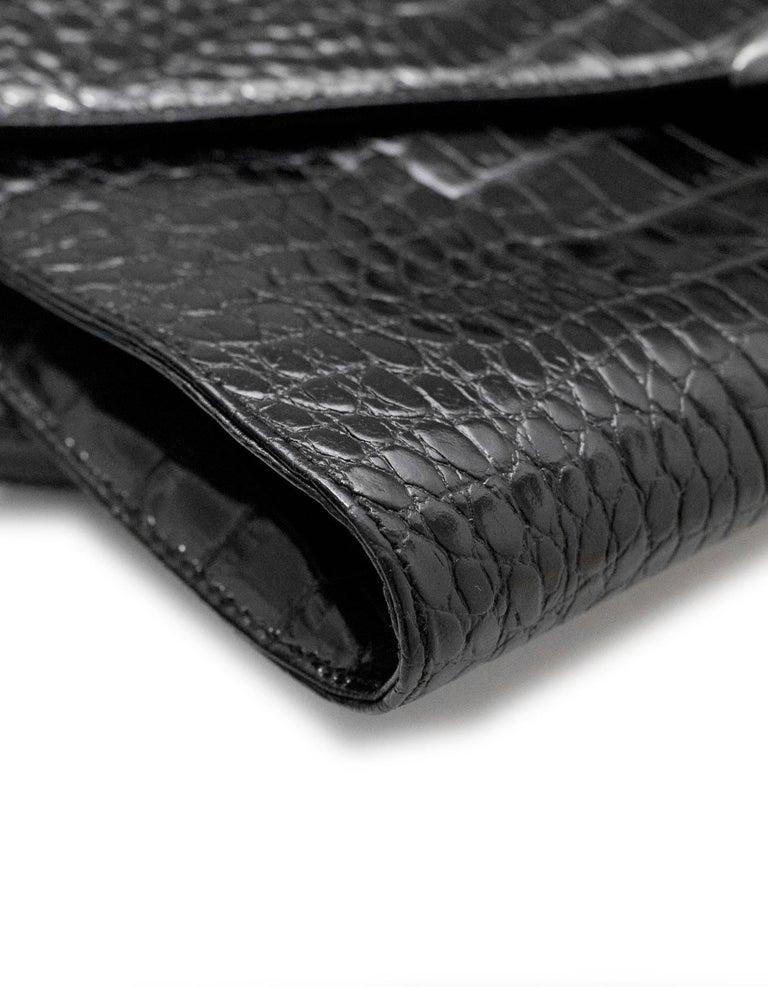 Women s Ralph Lauren Black Embossed Crocodile Crossbody Bag For Sale 8fca2afa91