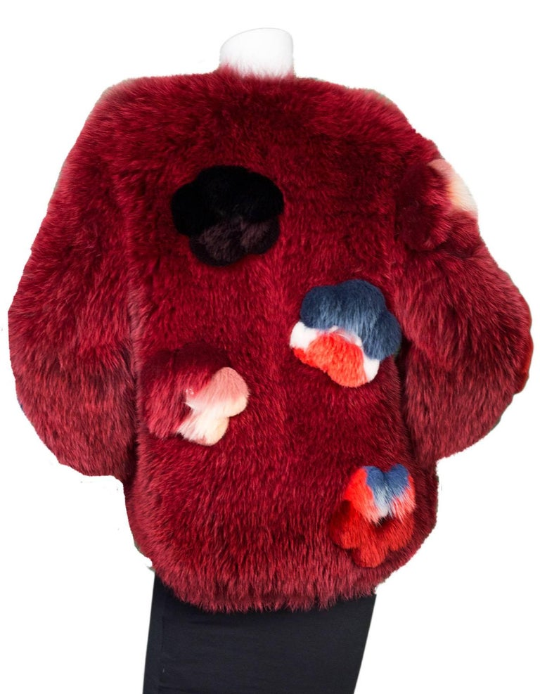 Women's Fendi Ruby Red Fox Fur and  Flower Applique Jacket Size IT40, 2016    For Sale