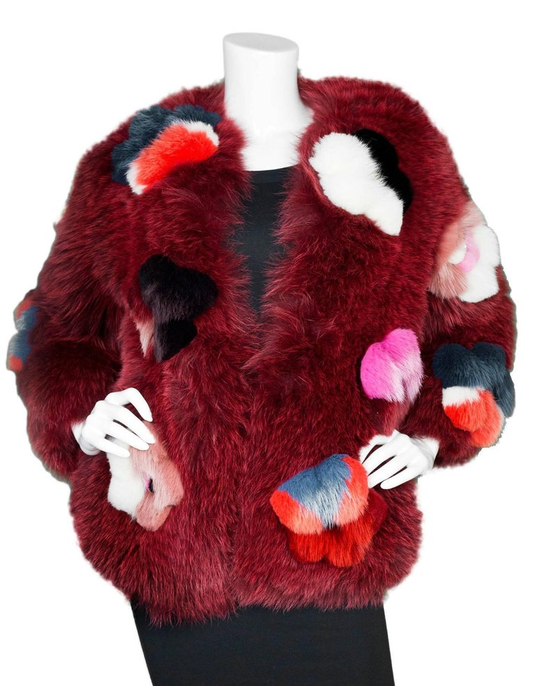 Fendi Ruby Red Fox Fur and  Flower Applique Jacket Size IT40, 2016    In Excellent Condition For Sale In New York, NY