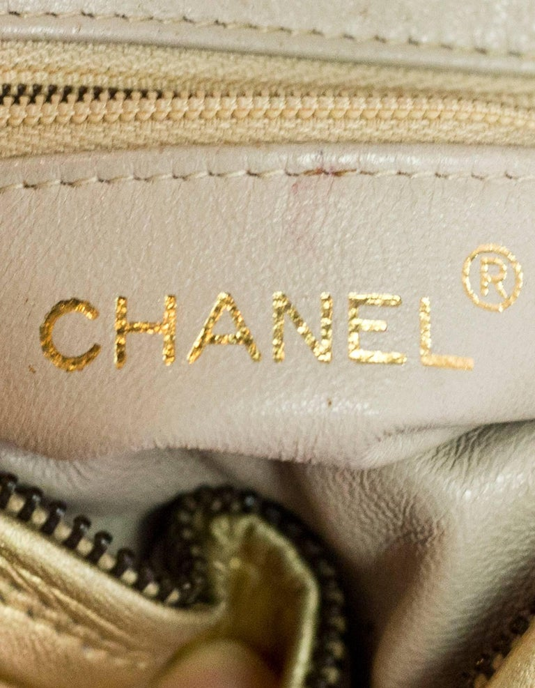 Chanel Vintage '90s Gold Lambskin Leather Quilted Circle Crossbody Bag For Sale 5