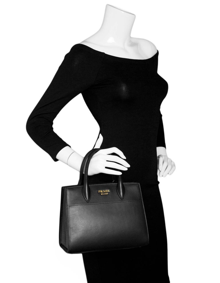 9f1f116fd908e4 Prada Black Calfskin & Ayers Snakeskin Small Bibliotheque Tote Bag NEW In  Excellent Condition For Sale