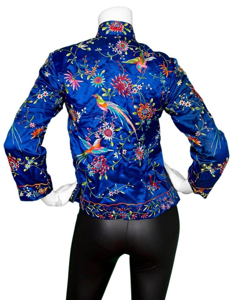 Plum blossoms embroidered blue silk jacket size fr for