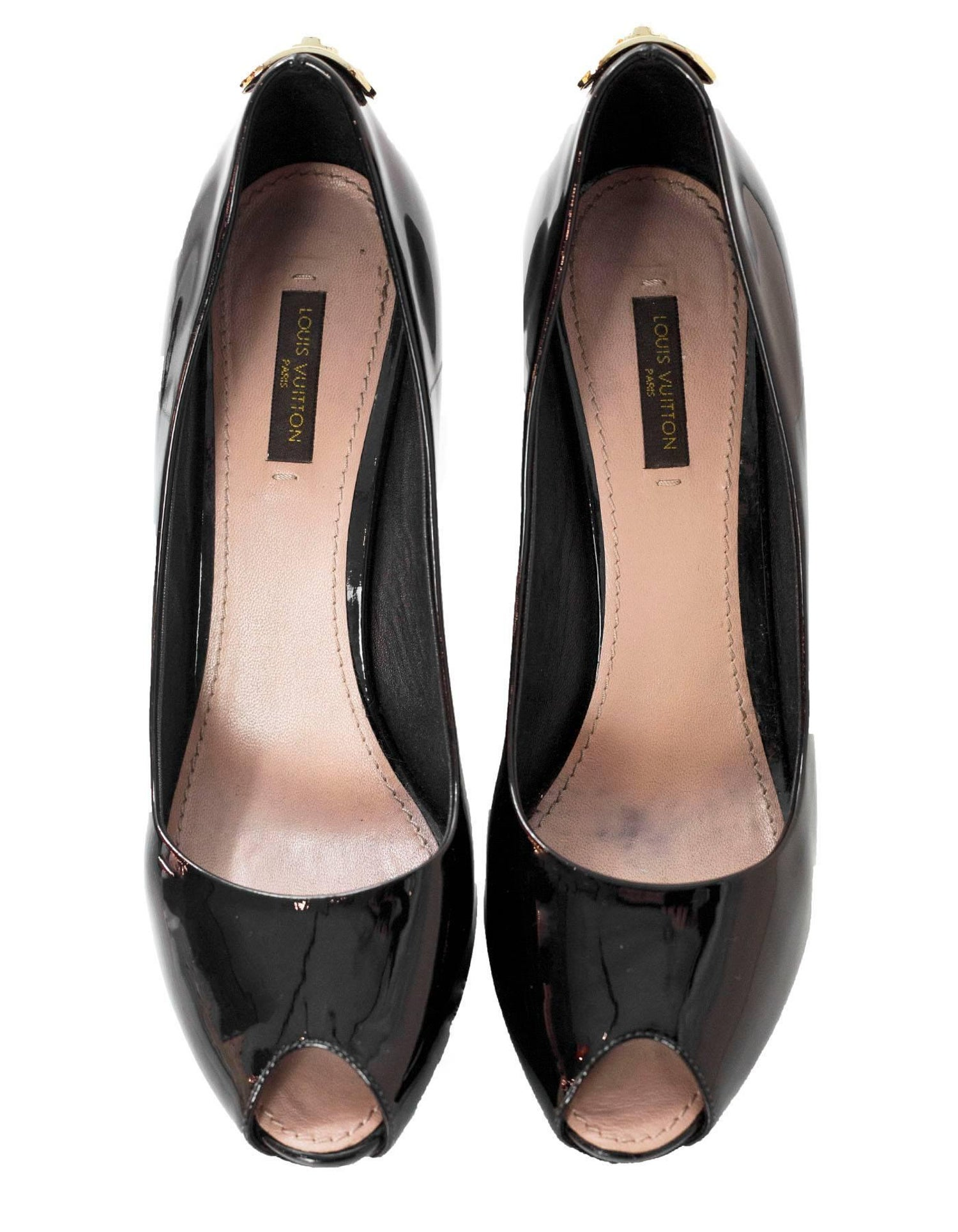 a181cf4af0 Louis Vuitton Black Patent Leather Oh Really! Peep-Toe Pumps Sz 38 with DB  For Sale at 1stdibs