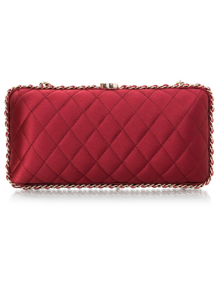 Women's Chanel Rust Red Quilted Satin Chain Around Box Clutch/ Evening Crossbody Bag  For Sale