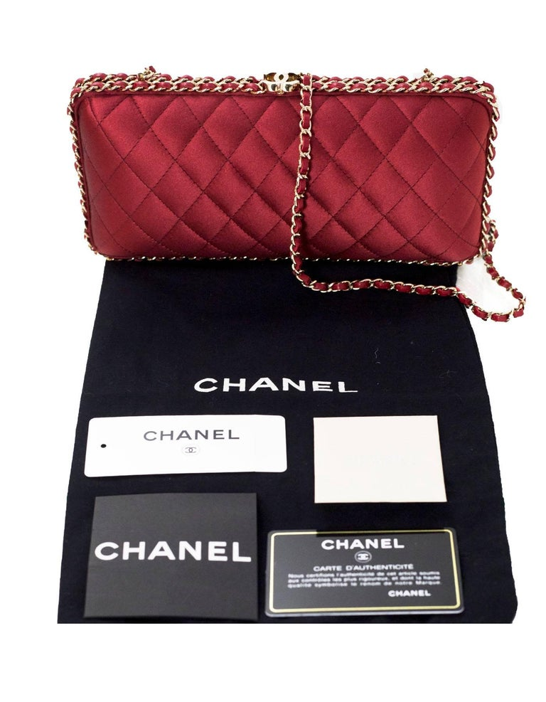 Chanel Rust Red Quilted Satin Chain Around Box Clutch/ Evening Crossbody Bag  For Sale 6