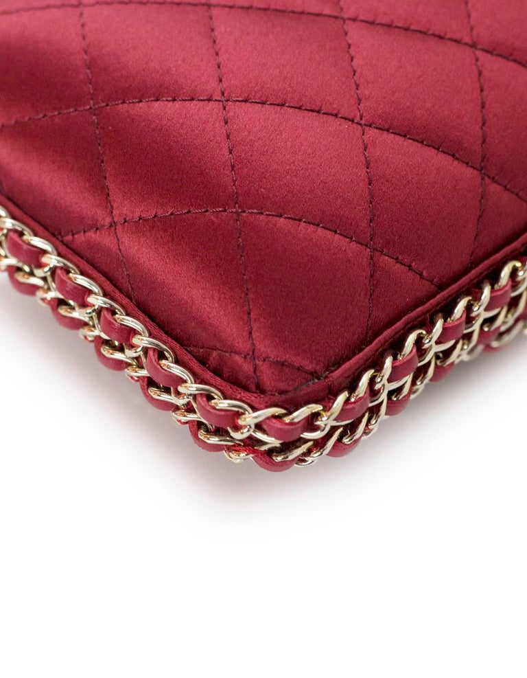 Chanel Rust Red Quilted Satin Chain Around Box Clutch/ Evening Crossbody Bag  For Sale 2