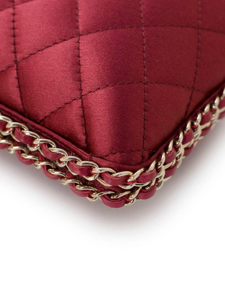 Chanel Rust Red Quilted Satin Chain Around Box Clutch/ Evening Crossbody Bag  For Sale 1