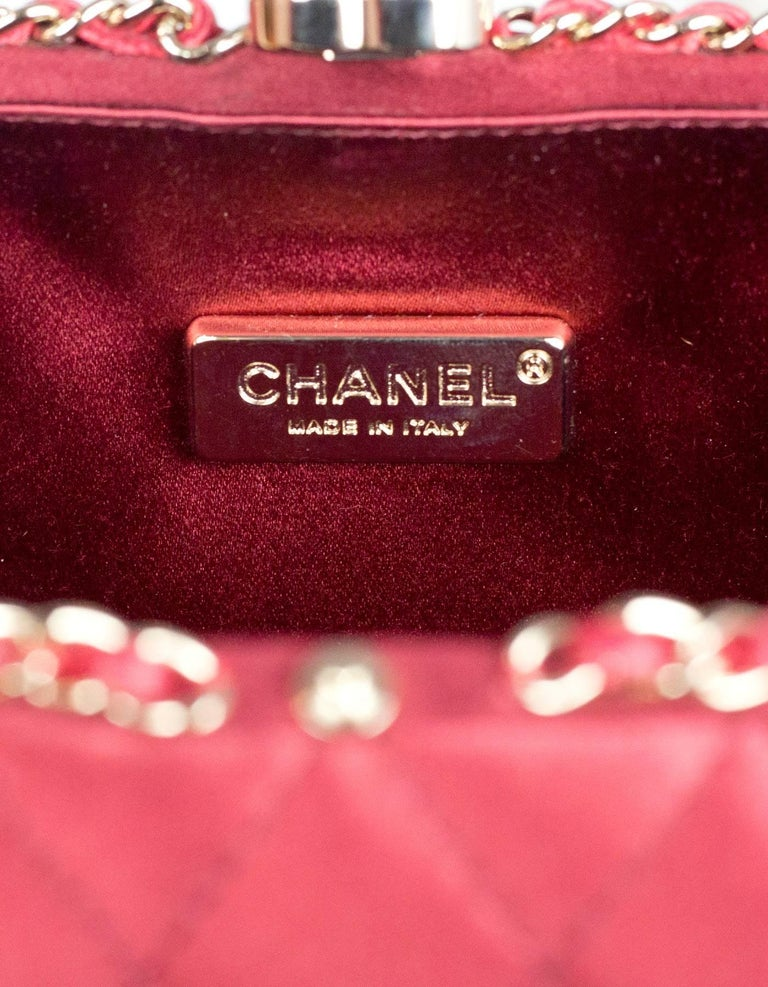 Chanel Rust Red Quilted Satin Chain Around Box Clutch/ Evening Crossbody Bag  For Sale 4