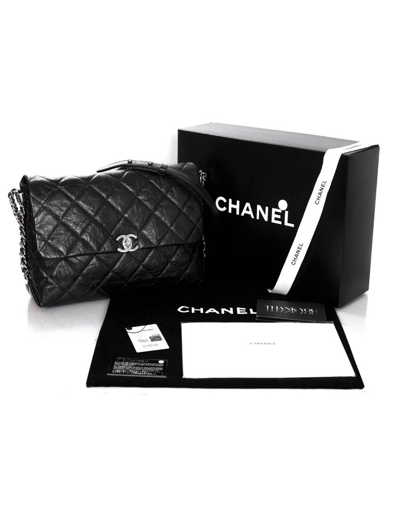 Chanel 2017 Black Quilted Distressed Calfskin Big Bang Flap Bag w. Receipt For Sale 5