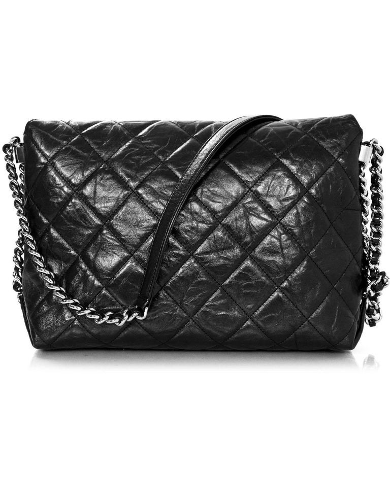 Chanel 2017 Black Quilted Distressed Calfskin Bang Flap Bag W Receipt In Excellent Condition
