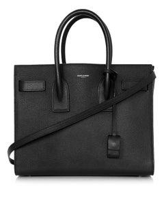 Saint Laurent Black Pebbled Leather Small Sac De Jour Tote Bag