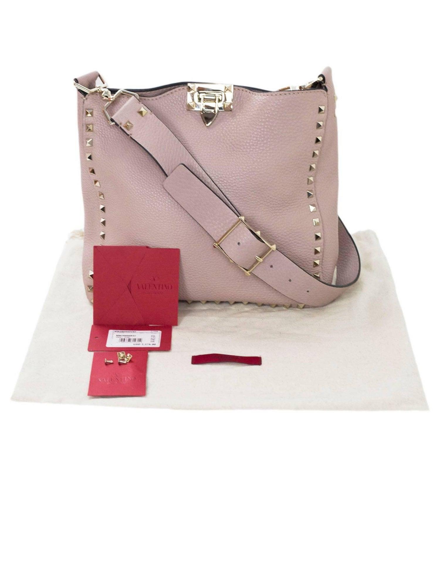02bab8db635f Valentino Blush Leather Rockstud Small Hobo Messenger Bag with DB For Sale  at 1stdibs