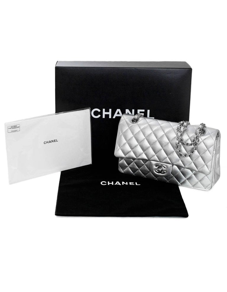 "Chanel Silver Quilted Lambskin 10"" Medium Double Flap Classic Bag 10"