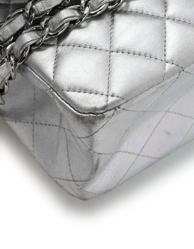 Women's Chanel Silver Quilted Lambskin 10