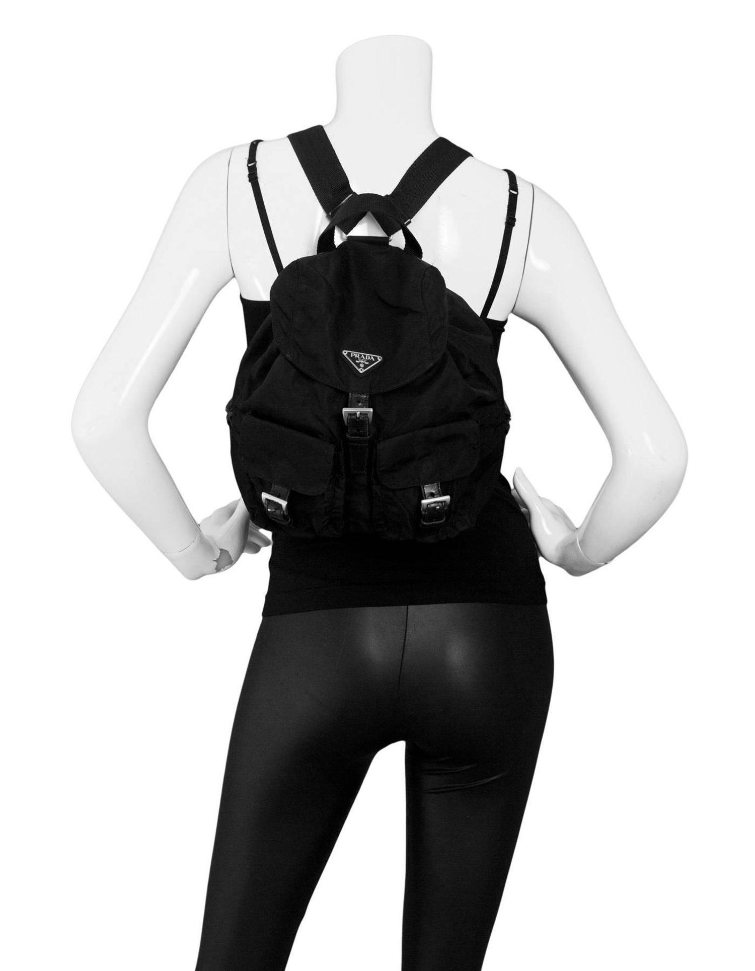 afffdc384c0027 Prada Black Tessuto Nylon Backpack Bag For Sale at 1stdibs