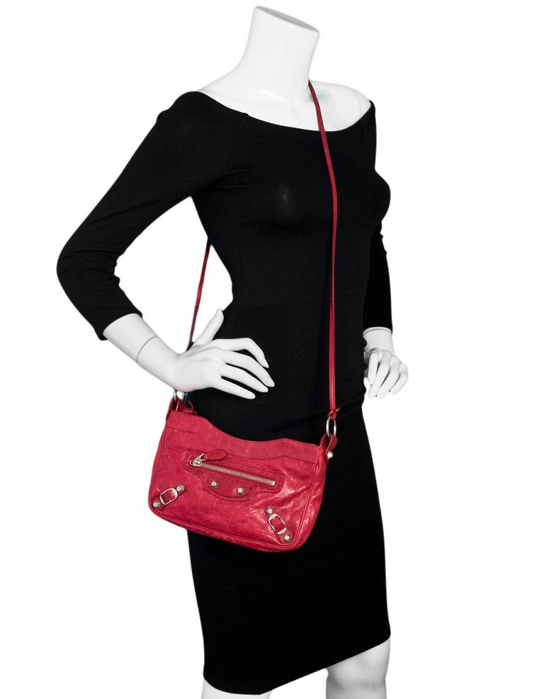 bf4f308a32 Balenciaga Red Lambskin Motocross Giant 12 Hip Crossbody Bag Made In: Italy  Color: Red