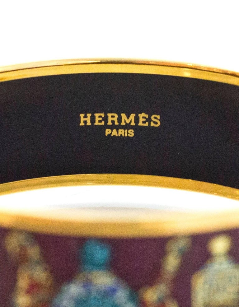Hermes Maroon Falcons Perfume Bottle Wide Enamel Bangle Bracelet Sz 65/Small For Sale 1