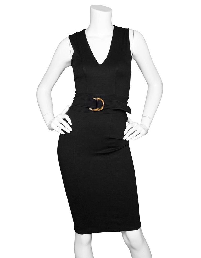 Gucci Black Sleeveless V Neck Dress With Bamboo Belt Sz Xs