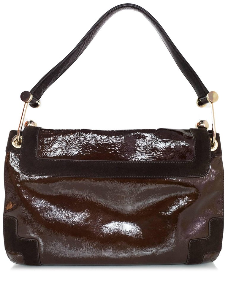 Anya Hindmarch Brown Patent & Suede Lautner Bag In Excellent Condition For Sale In New York, NY