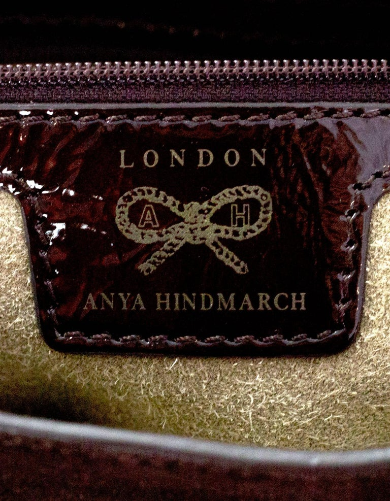 Anya Hindmarch Brown Patent & Suede Lautner Bag For Sale 3