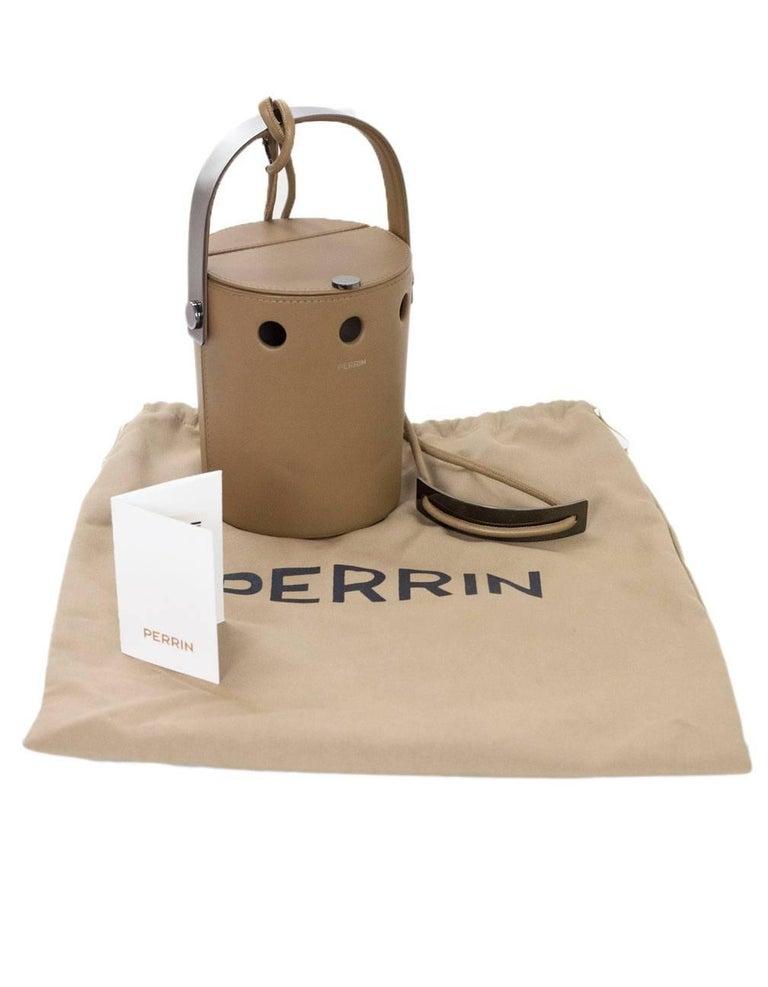 Perrin Taupe Calf Leather Le Mini Seau Structured Bucket Bag For Sale 4