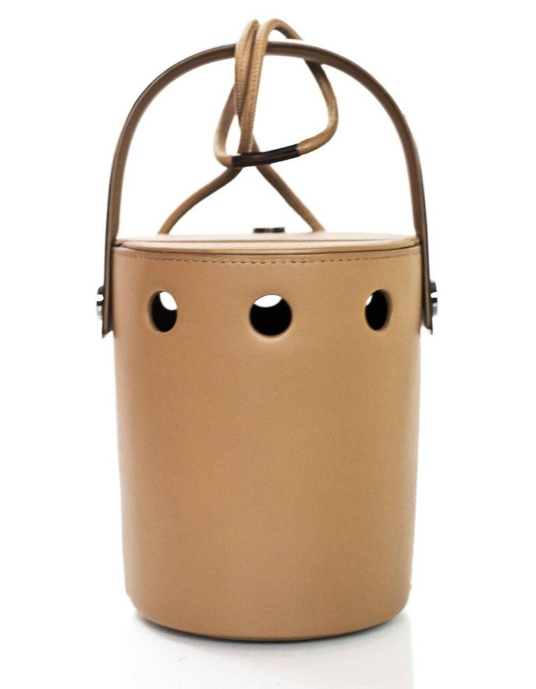 Perrin Taupe Calf Leather Le Mini Seau Structured Bucket Bag In Excellent Condition For Sale In New York, NY