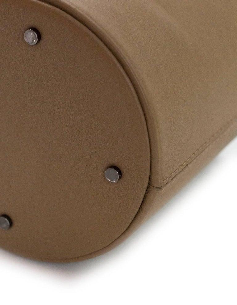 Perrin Taupe Calf Leather Le Mini Seau Structured Bucket Bag For Sale 1