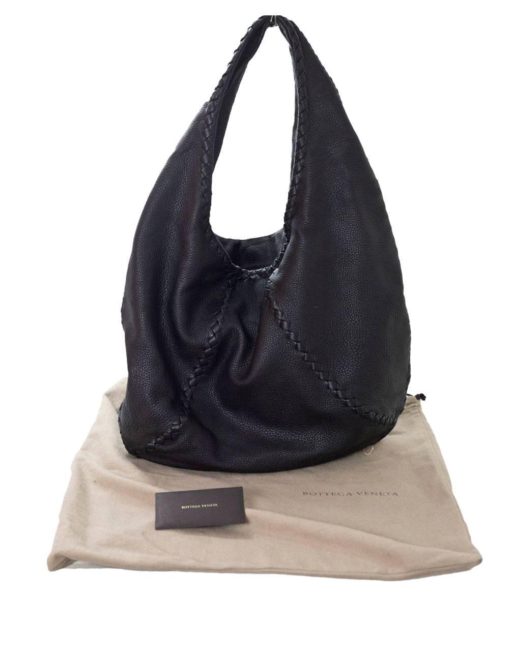 7c6c5becece40 Bottega Veneta Black Deerskin Leather Large Cervo Hobo Bag rt. $1,780 For  Sale at 1stdibs