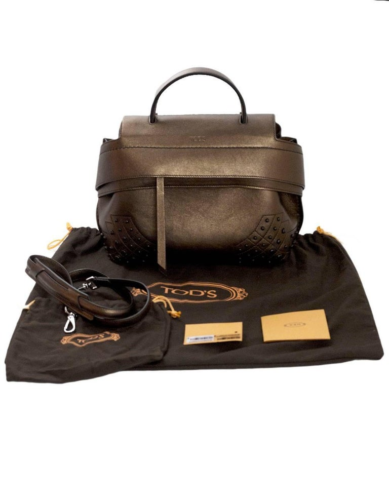Tod's Bronze Small Wave Gommini Top Handle Bag with Strap rt. $2,165 For Sale 7