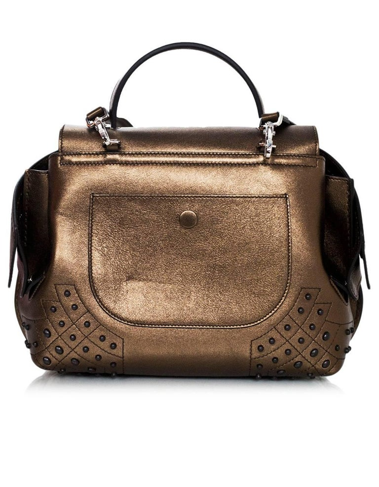 Women's Tod's Bronze Small Wave Gommini Top Handle Bag with Strap rt. $2,165 For Sale