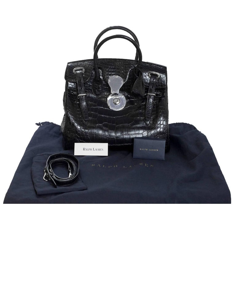 6f55ab03a36 Ralph Lauren Black Crocodile Ricky 33 Satchel Bag with Strap For Sale 6