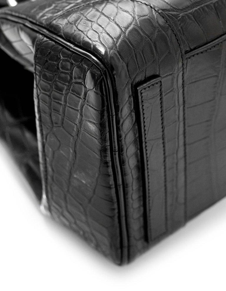 8ef145cac04 Ralph Lauren Black Crocodile Ricky 33 Satchel Bag with Strap For Sale 1