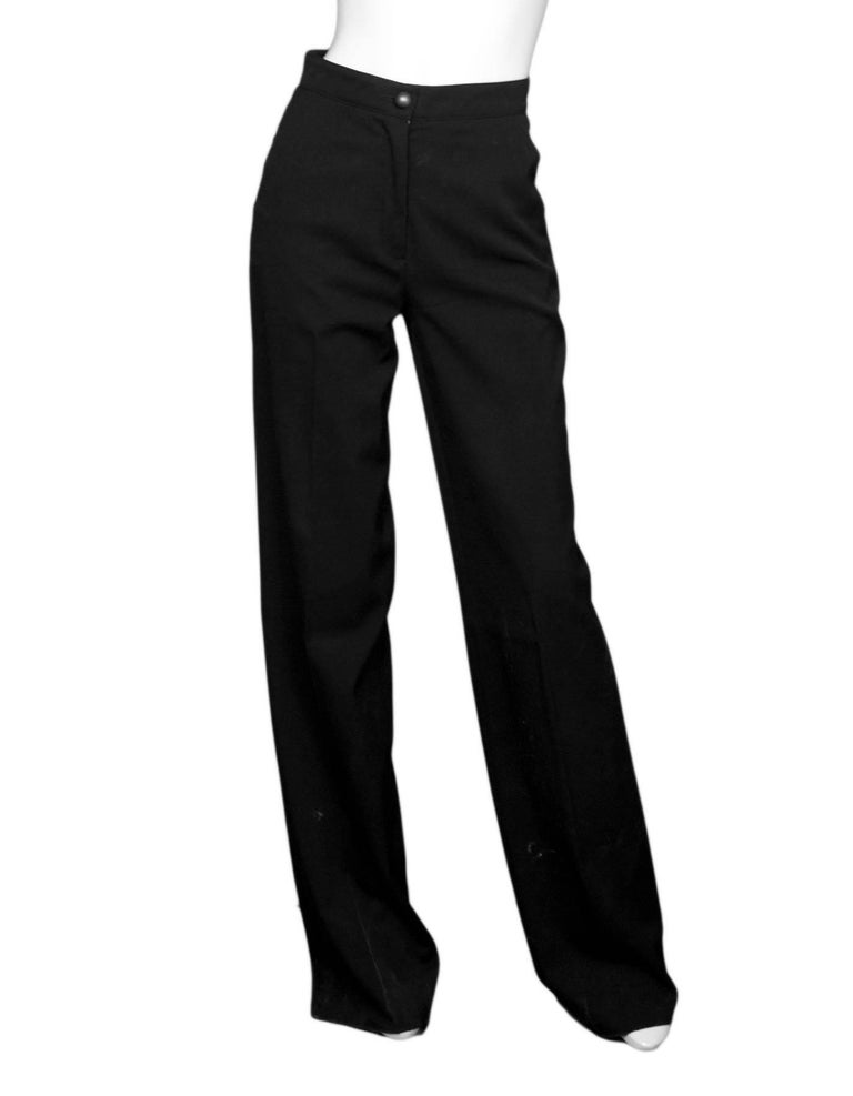 Fendi Black Wool Pants Sz IT38  Made In: Italy Color: Black Closure/Opening: Zip fly and button closure Exterior Pockets: Side slit pockets and single back button pocket Composition: 100% Wool Overall Condition: Very good pre-owned condition with