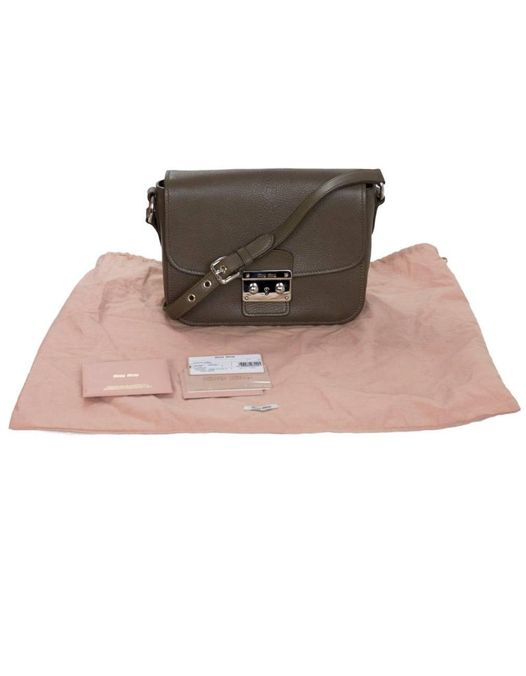 Miu Miu Bambu Taupe Leather Madras Crossbody Bag with DB For Sale 5